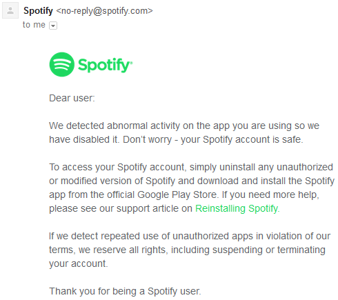 Spotify warning on the unauthorised use of Spotify