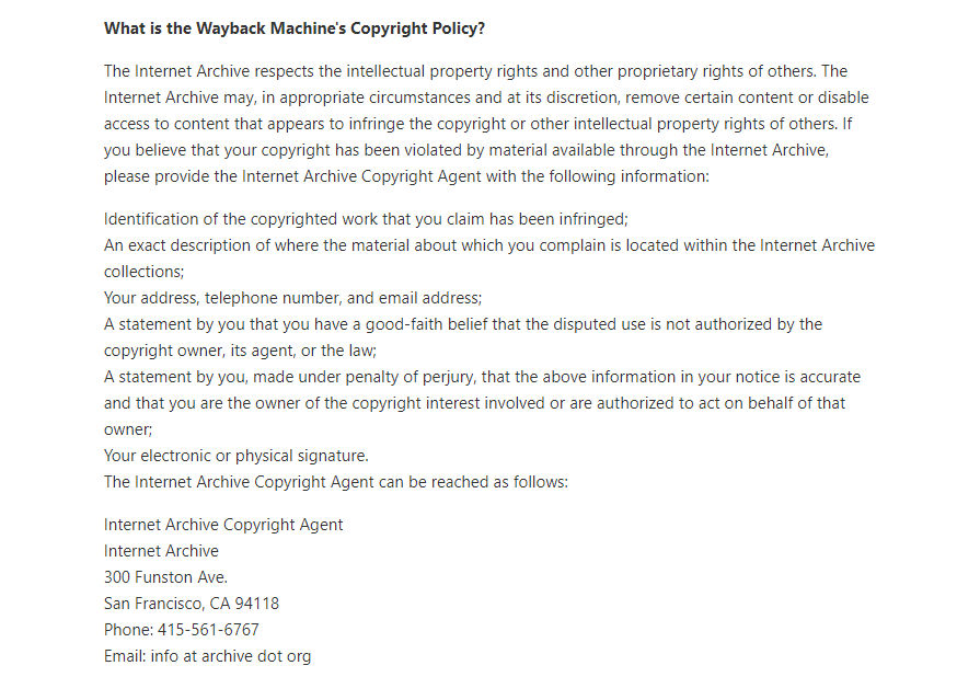 wayback machine Copyright policy