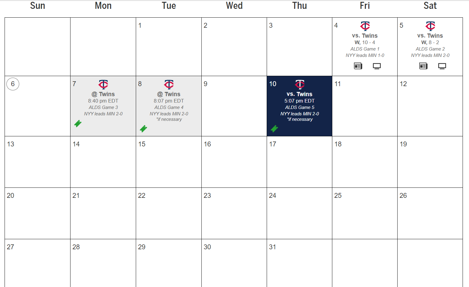 the Yankees schedule