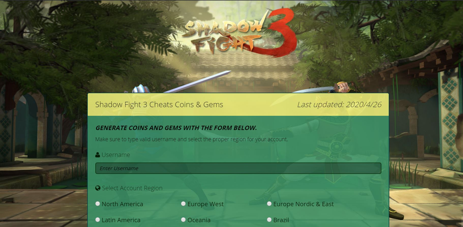 Shadow fight 3 unlimited free gems generator